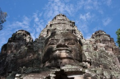 A closeup of Angkor Thom's North Gate