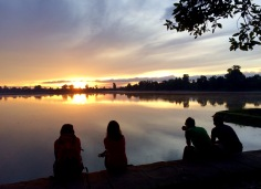 Sunrise at Angkor is a crowded affair, but there are still places to enjoy solitude with friends. One of them is the Sras Srang lake