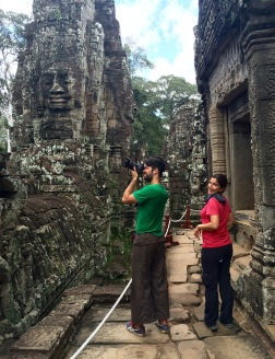 Bayon is the main temple inside Angkor Thom, and is immediately recognisable by its large Buddha heads