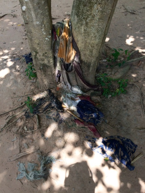 Forty years have passed, yet it is still possible to find remains of clothing and bones along the Choeung Ek Memorial