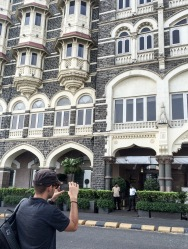 The Taj Hotel sits in front of the Gateway of India. The Hotel was one of the 12 targets of the 2008 Mumbai terrorist attacks