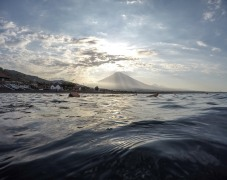 Jules enjoys a late evening dip in Amed's clear waters