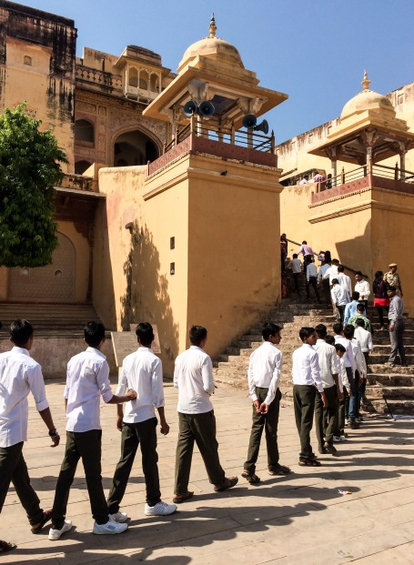 A group of students lines up for a visit of the palace