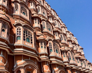 The facade of Hawa Mahal, Jaipur's most famous monument