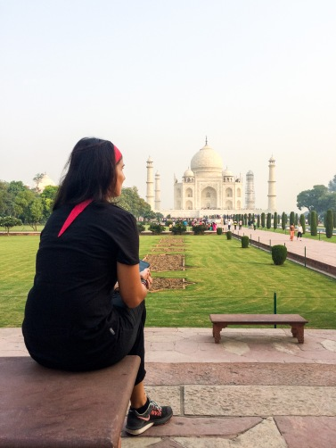 Jules admires the Taj Mahal from afar