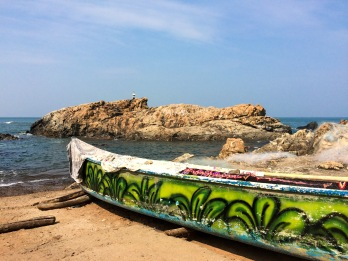 An exuberant painting in a canoe