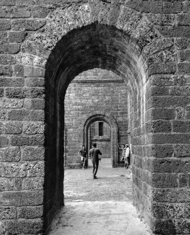 "Peeking through the arches of the ""Basilica do Bom Jesus"""