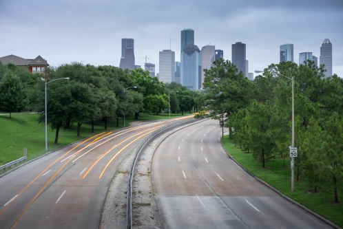 Downtown Houston seen from Bayou Park (35mm, 5s, f5, ISO 200, 9-stop ND filter)