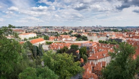 City view from the Prague Castle (two-picture panorama at 16mm, 1/350s, f8, ISO 200)