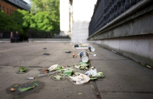 Trash and leaves left by the wind and rain, St. Paul's Cathedral, London, UK (16mm, 1/2200s, f1.4, ISO 200)