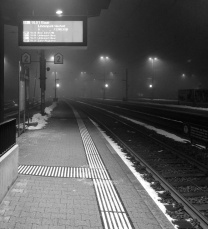 Waiting for the train on a cold winter day