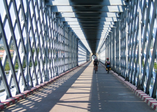Crossing the border bridge between Tui (Spain) and Valência (Portugal)