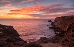 Sunset at Carrapateira, Portugal (composite image, 16mm, 1/110s & 1/150s, f1.4 & f2.5, ISO 200)