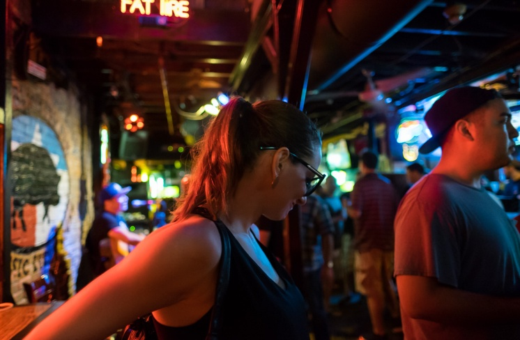 The Tall Doctor at Sixth Street, Austin, Texas (16mm, 1/60s, f1.4, ISO 5000)