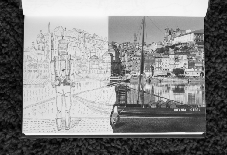 A sketch of a constitutional soldier watching Porto's skyline, which hasn't changed much since then