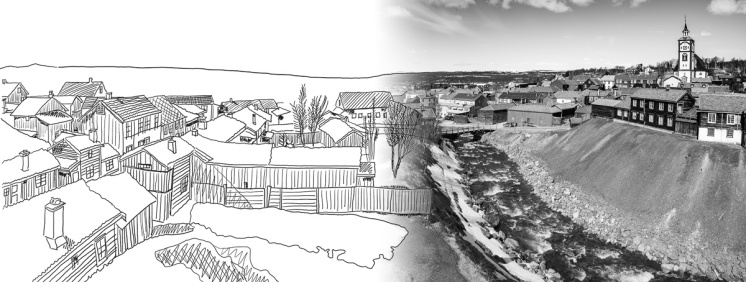 Røros, Norway (sketch over 3-picture panorama, 16mm, f9, 1/450s, ISO 200, PPL3-Altered)