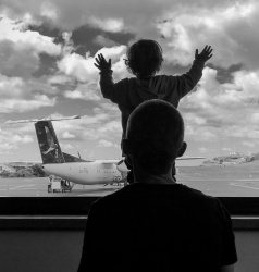 Gabriel checks out the planes, Terceira Airport, Azores (PPL2-Enhanced)