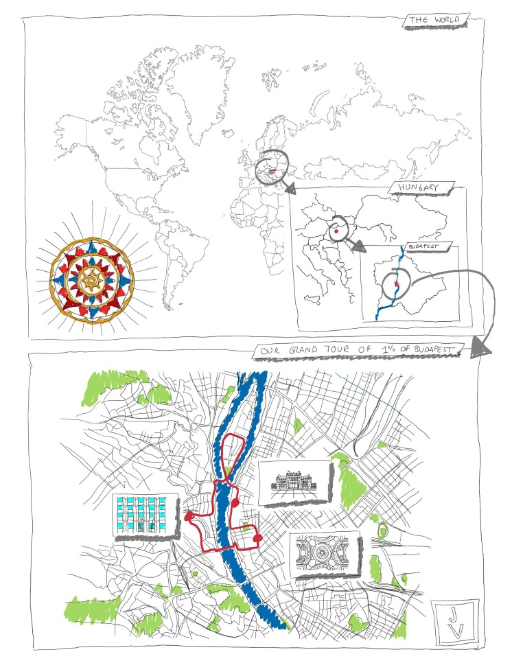 Our grand tour of 1% of Budapest, hand drawing with digital pen