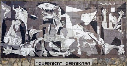 Guernica reproduction on tiled wall, Guernica, Spain (PPL3-Altered)
