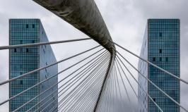 Detail of the Zubizuri footbridge and Isozaki towers, Bilbao, Spain (PPL1-Corrected)