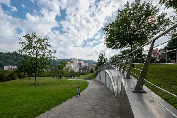 Gabriel walking towards Guggenheim Museum, Bilbao, Spain (PPL2-Enhanced)