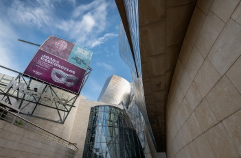 "Guggenheim Museum entrance during Joana Vasconcelos' ""I'm Your Mirror"" exhibit, Bilbao, Spain (PPL1-Corrected)"