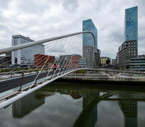 Zubizuri footbridge, by Santiago Calatrava, Bilbao, Spain (PPL1-Corrected)
