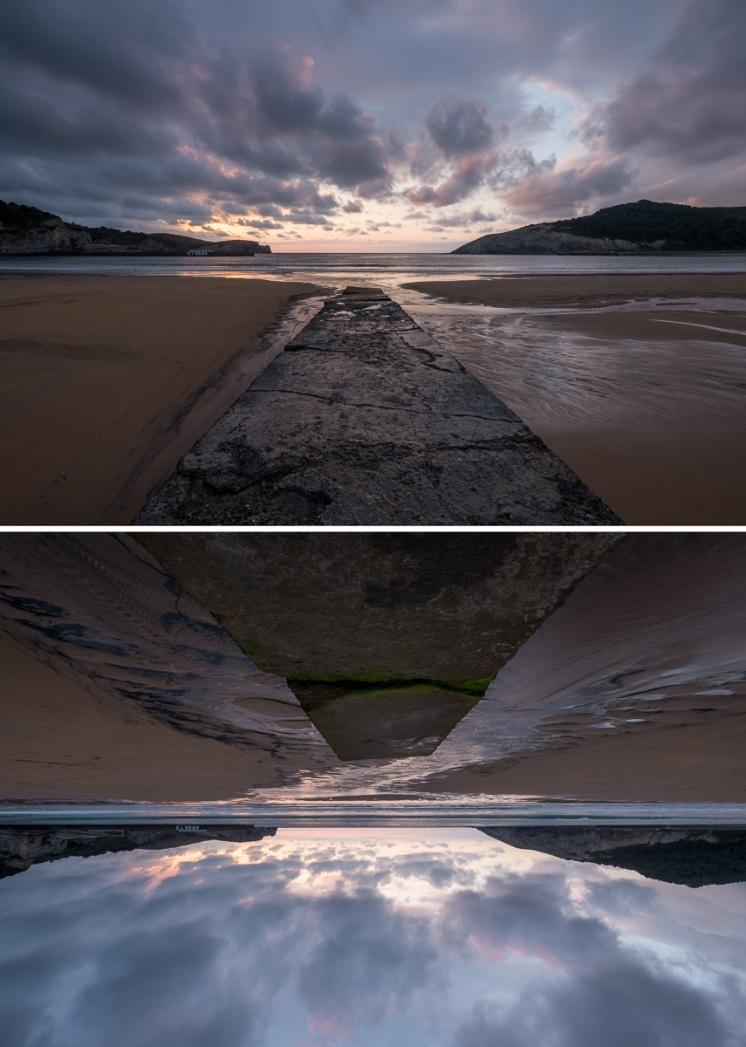Sunset montage at Gorliz Beach, Basque Country, Spain (PPL3-Altered)