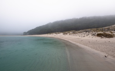 Playa de Rodas on a foggy morning, Ciés Islands, Spain (PPL1-Corrected)