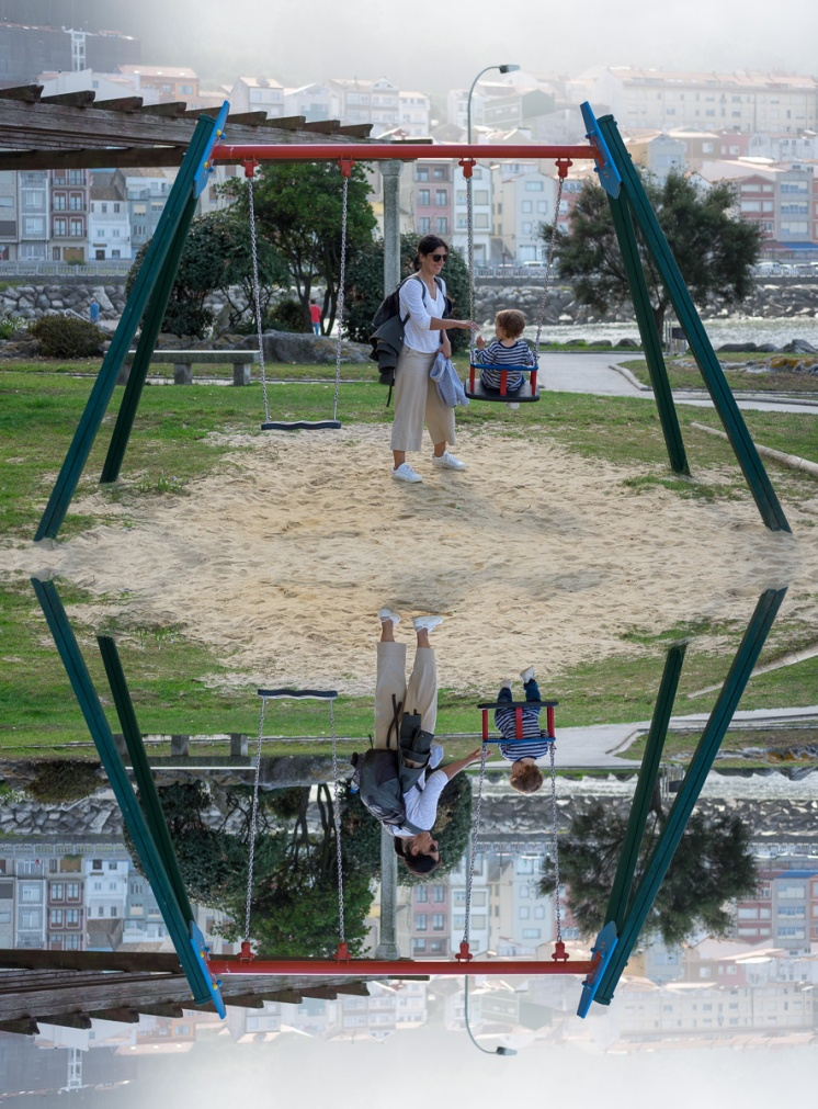 Montage of Jules and Gabriel at a playground, A Guarda, Galicia, Spain (PPL3-Altered)