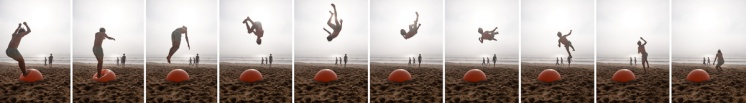 Sequence of an acrobatic flip using an exercise ball buried in the sand, Praia América, Galicia, Spain (PPL3-Altered)