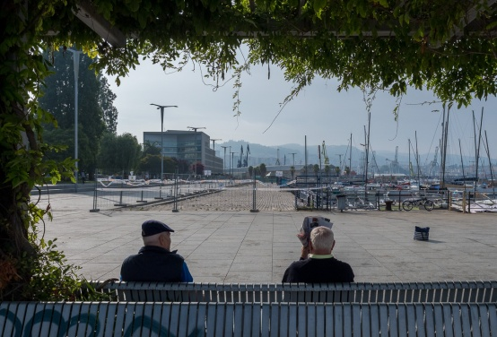 Two men sitting on a bench, Vigo Port, Galicia, Spain (PPL1-Corrected)